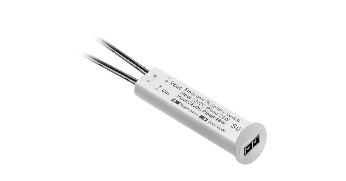 Kép 1/2 - Kapcsoló, nyitásérzékelős, fényerőszabályzóval, 12V, max 24W, mini AMP csatlakozóval, 2 fm kábellel, fehér