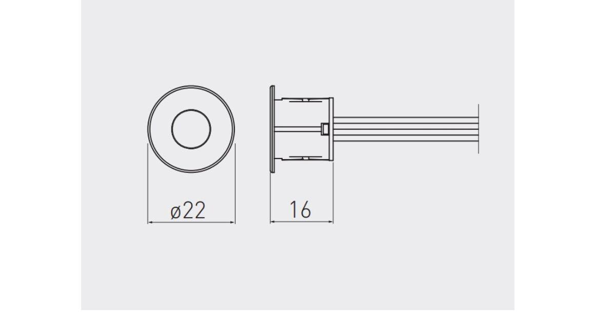 Kép 2/2 - Kapcsoló, érintős, fényerőszabályzóval, 12V, max 24W, mini AMP csatlakozóval, 2 fm kábellel, fehér, 18mm-es furatba