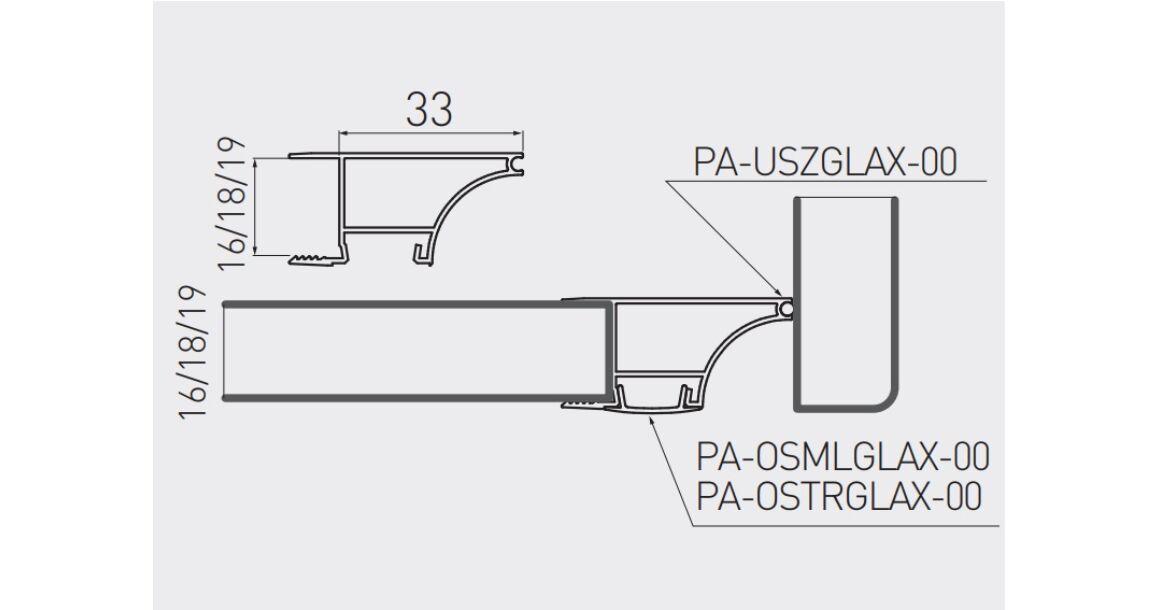 Kép 2/2 - LED Profil, GLAXWN, élre rögzíthető, 2m, 18mm laphoz, alu elox
