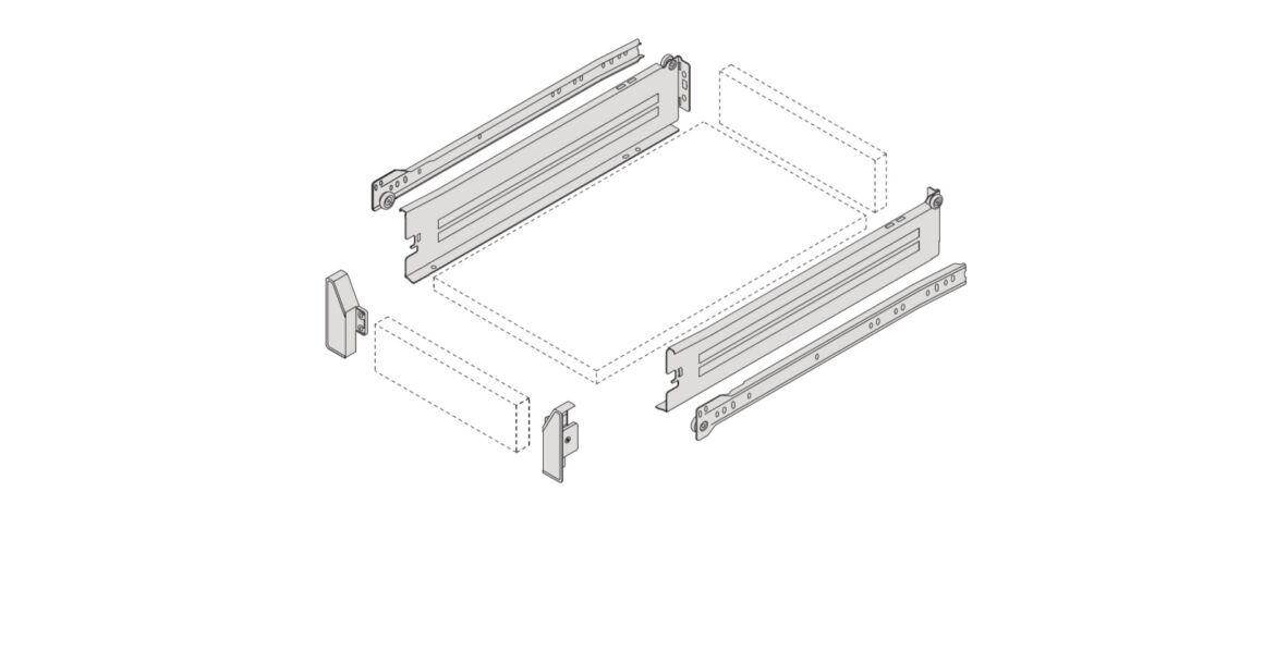 Kép 2/2 - IMPAZ részleges kihúzású belső fém fiókoldal csúszóval