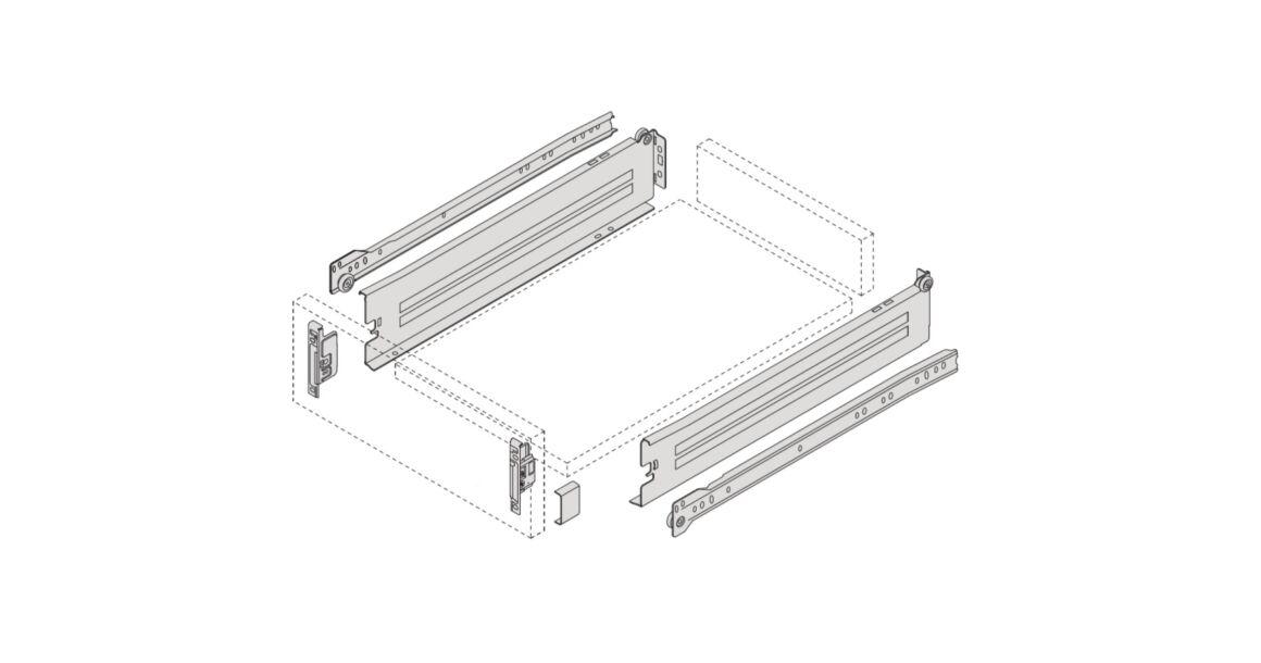 Kép 2/2 - IMPAZ részleges kihúzású normál fém fiókoldal csúszóval