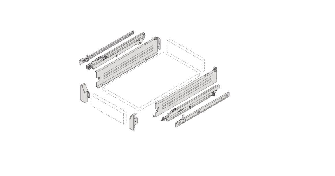 Kép 2/2 - IMPAZ teljes kihúzású belső fém fiókoldal csúszóval