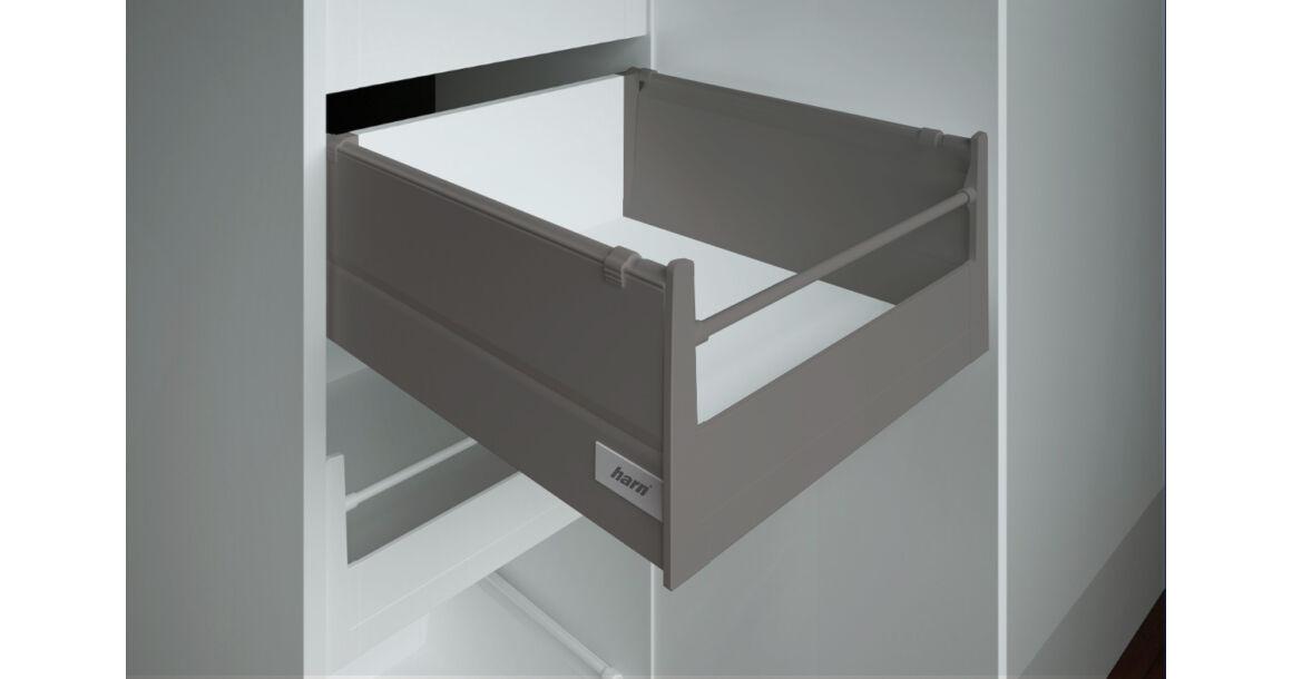 Kép 1/2 - RITMA CUBE oldalmagasított körkorlátos 83 mm magas belső fiók, metál szürke