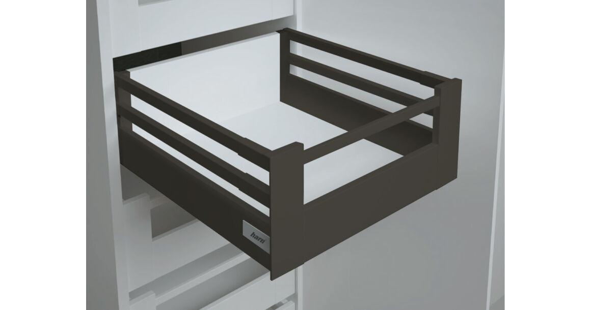 Kép 1/2 - RITMA CUBE dupla négyszög korlátos 83 mm magas belső fiók, ólomszürke