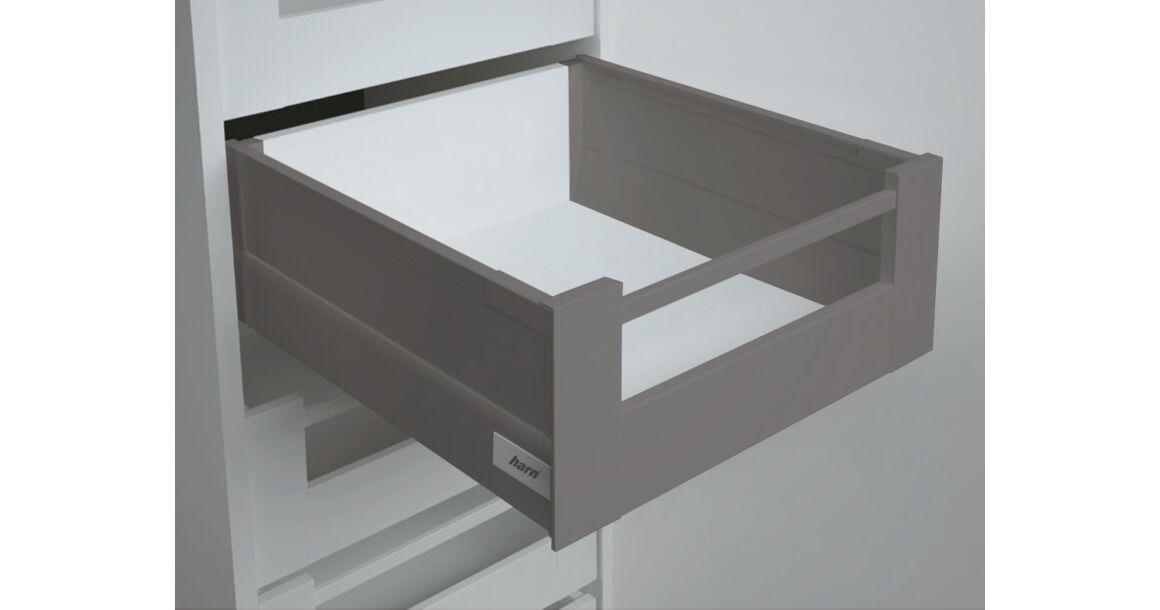 Kép 1/2 - RITMA CUBE oldalmagasított négyszög korlátos 83 mm magas belső fiók, metál szürke