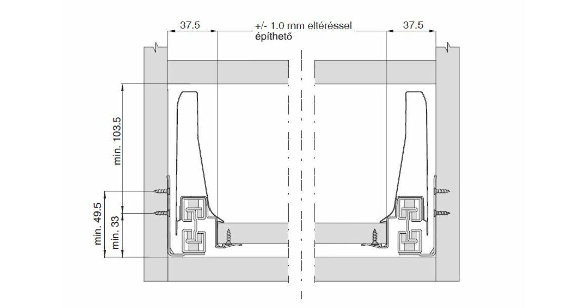 Kép 3/17 - Fiókoldal   RITMA CUBE belső fiók, T, fehér, 270mm, 35kg