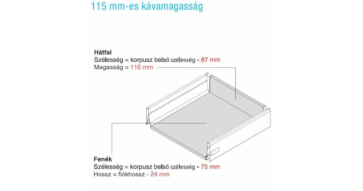 Kép 4/17 - Fiókoldal   RITMA CUBE belső fiók, T, fehér, 270mm, 35kg