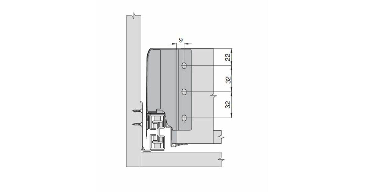 Kép 2/17 - Fiókoldal   RITMA CUBE belső fiók, T, fehér, 270mm, 35kg