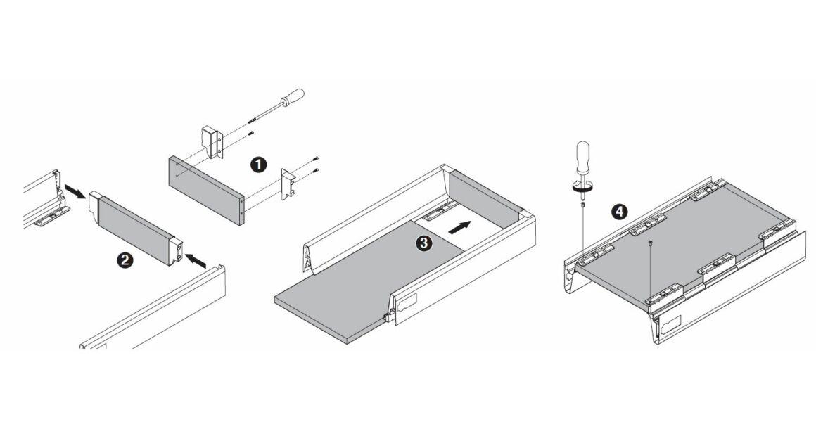 Kép 7/17 - Fiókoldal   RITMA CUBE belső fiók, T, fehér, 270mm, 35kg