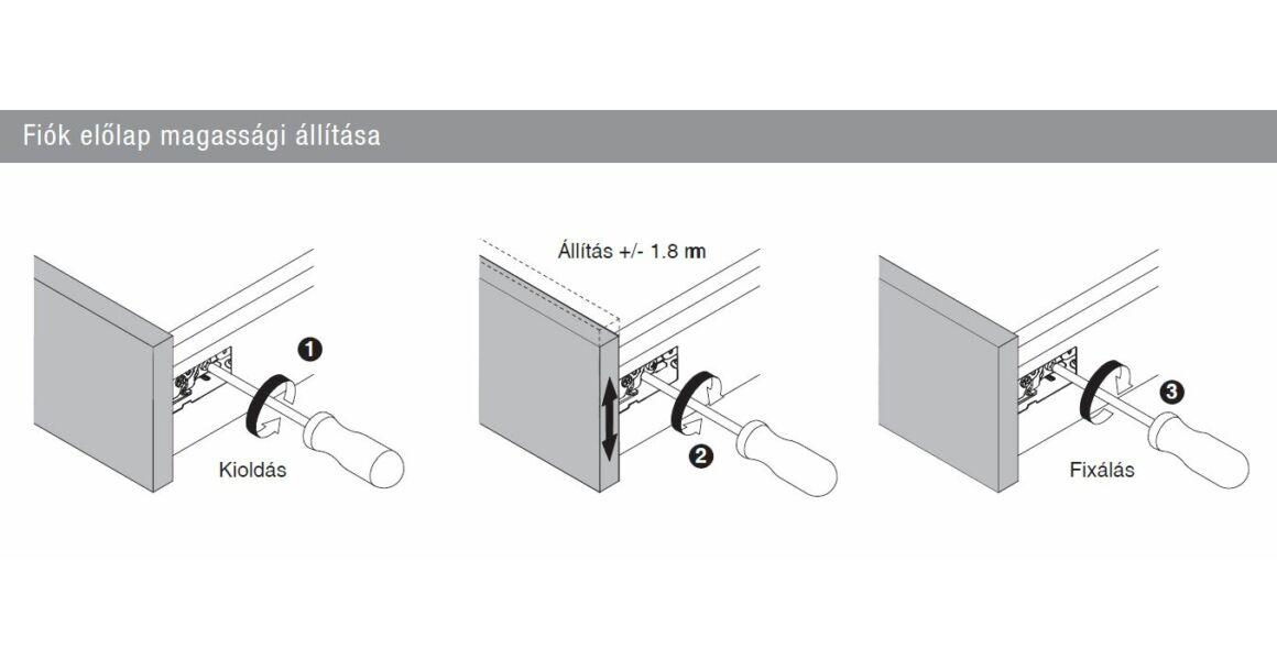 Kép 10/17 - Fiókoldal   RITMA CUBE belső fiók, T, fehér, 270mm, 35kg