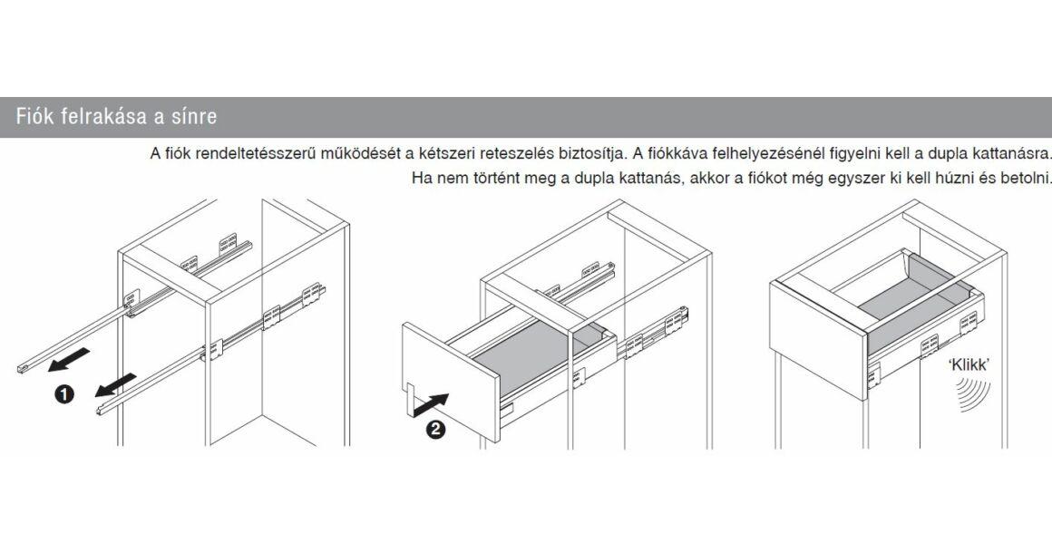 Kép 11/17 - Fiókoldal   RITMA CUBE belső fiók, T, fehér, 270mm, 35kg