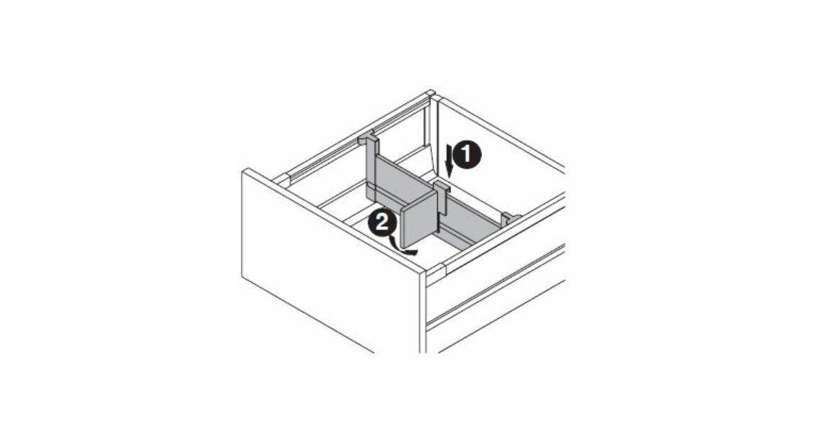 Kép 16/17 - Fiókoldal   RITMA CUBE belső fiók, T, fehér, 270mm, 35kg