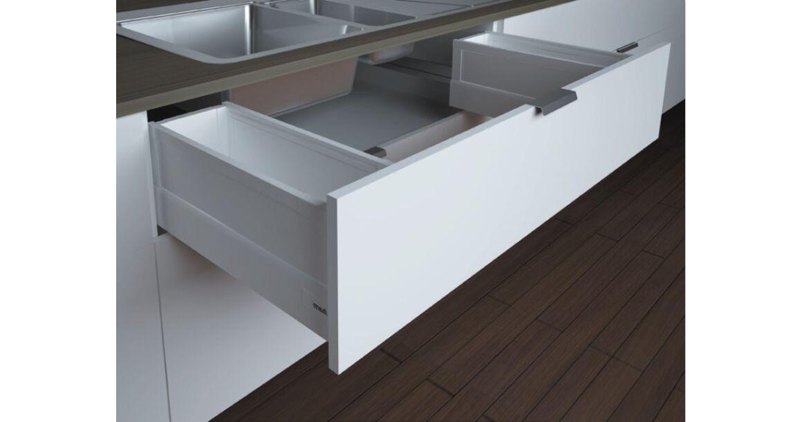 Kép 1/2 -  RITMA CUBE oldalmagasított négyszög korlátos 83 mm magas mosogatós normál fiók, tiszta fehér