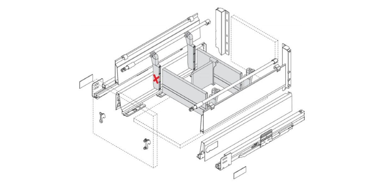 Kép 3/3 - RITMA CUBE fiókelválasztó panelrögzítő négyszög korláthoz, ólom szürke