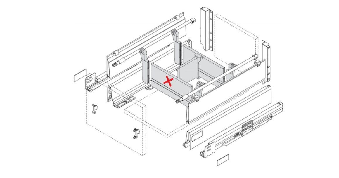 Kép 3/3 - RITMA CUBE fiókelválasztó panel négyszög korláthoz, metál szürke