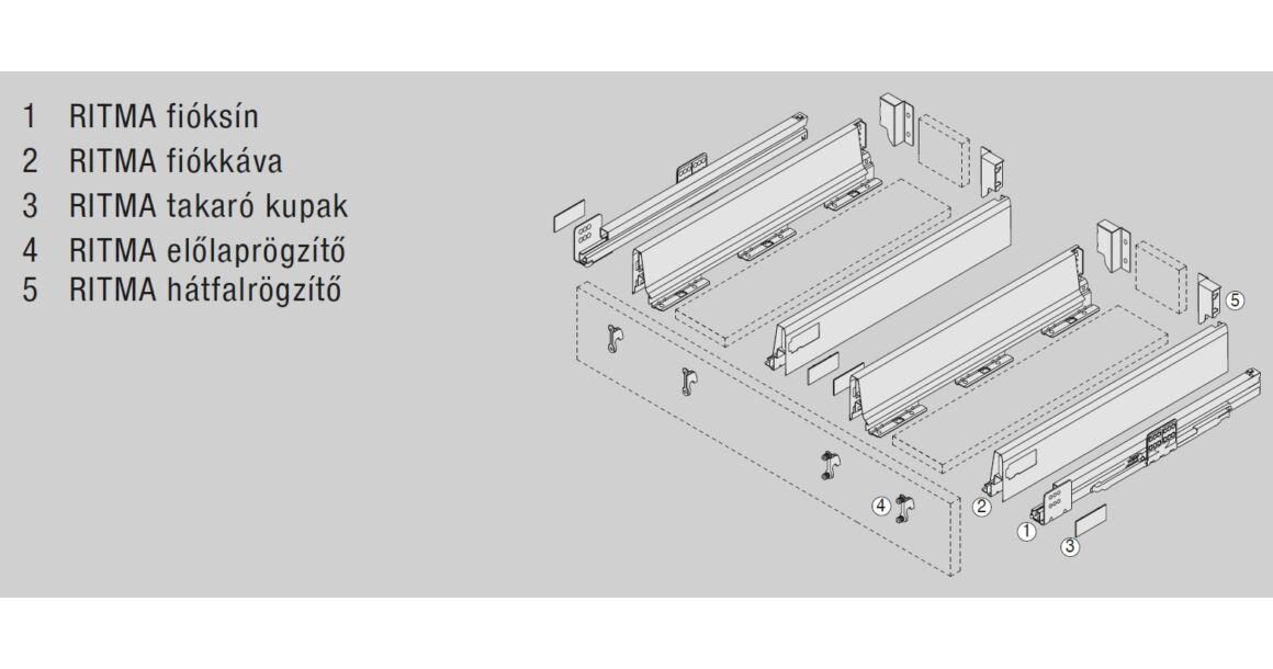 Kép 2/2 -  RITMA CUBE korlát nélküli 83 mm magas mosgatós normál fiók, metál szürke