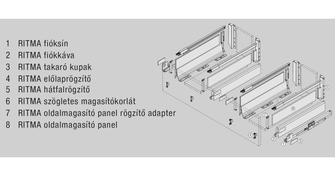 Kép 2/2 -  RITMA CUBE oldalmagasított négyszög korlátos 83 mm magas mosogatós normál fiók, metál szürke
