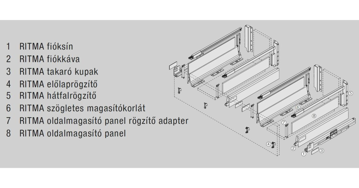 Kép 2/2 -  RITMA CUBE oldalmagasított négyszög korlátos 83 mm magas mosogatós normál fiók, ólomszürke