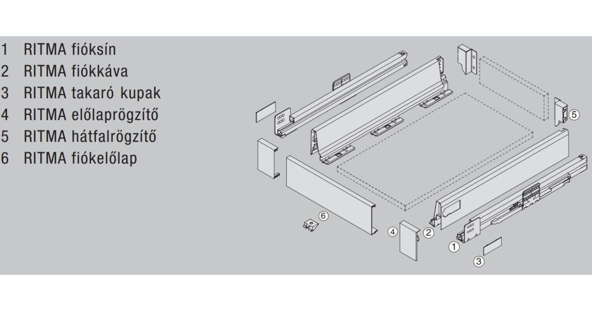 Kép 2/2 - RITMA CUBE korlát nélküli 83 mm magas belső fiók, ólomszürke