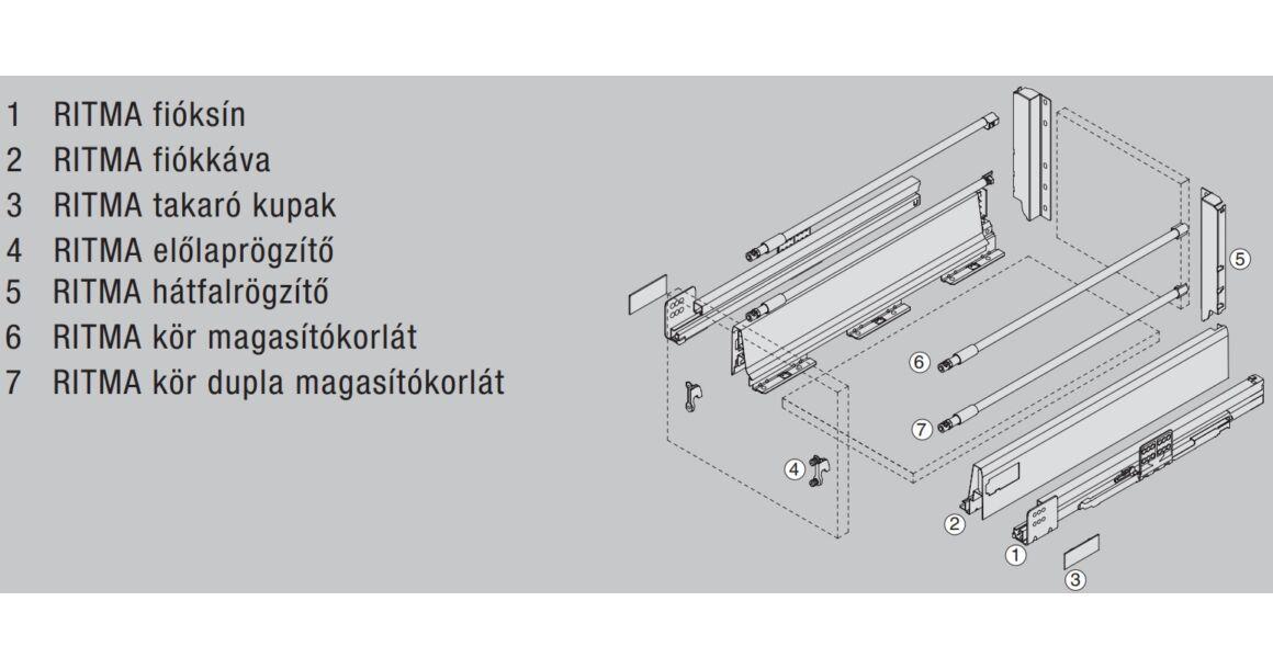 Kép 2/2 - RITMA CUBE dupla körkorlátos 83 mm magas normál fiók, metál szürke