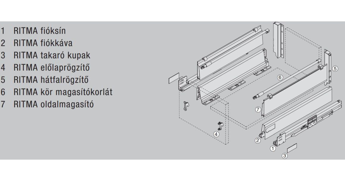 Kép 2/2 - RITMA CUBE oldalmagasított körkorlátos 83 mm magas normál fiók, metál szürke