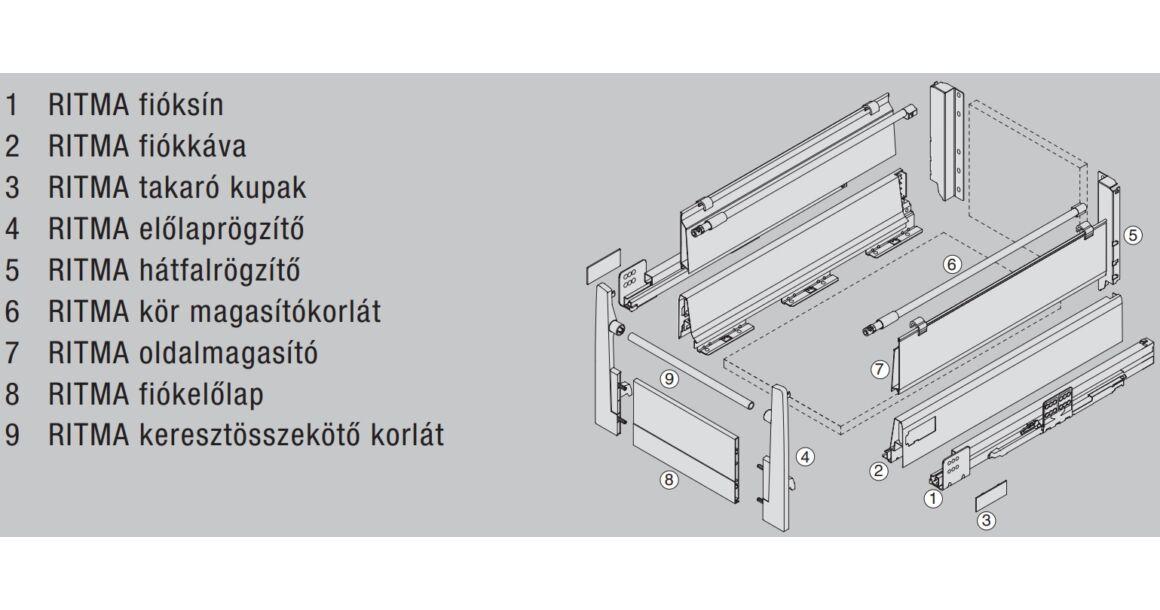 Kép 2/2 - RITMA CUBE oldalmagasított körkorlátos 83 mm magas belső fiók, metál szürke