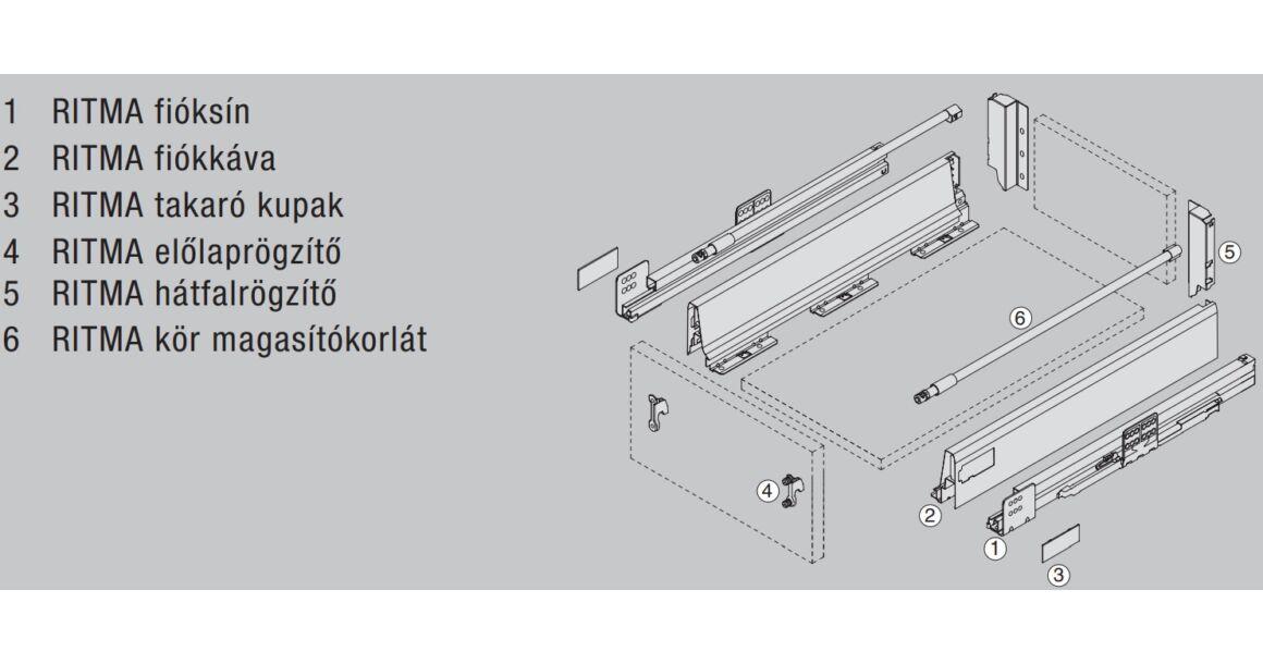 Kép 2/2 - RITMA CUBE alsó körkorlátos 83 mm magas normál fiók, metál szürke
