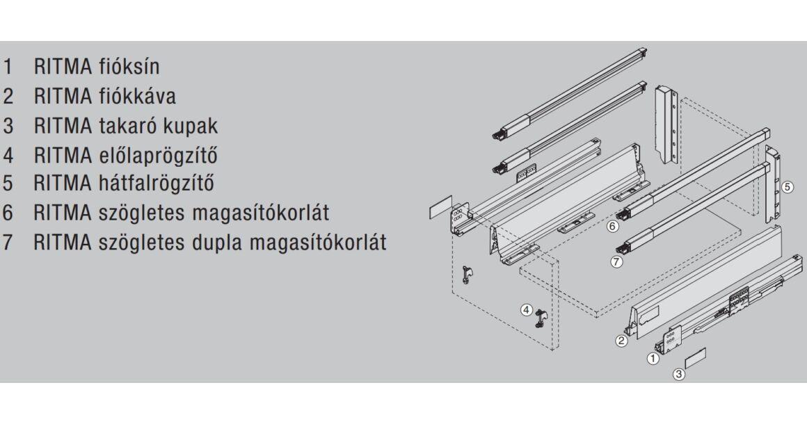Kép 2/2 - RITMA CUBE dupla négyszög korlátos 83 mm magas normál fiók, metál szürke