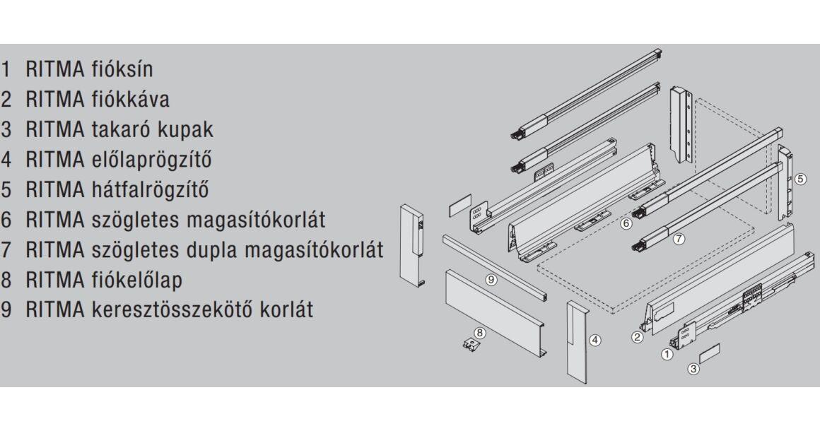 Kép 2/2 - RITMA CUBE dupla négyszög korlátos 83 mm magas belső fiók, metál szürke