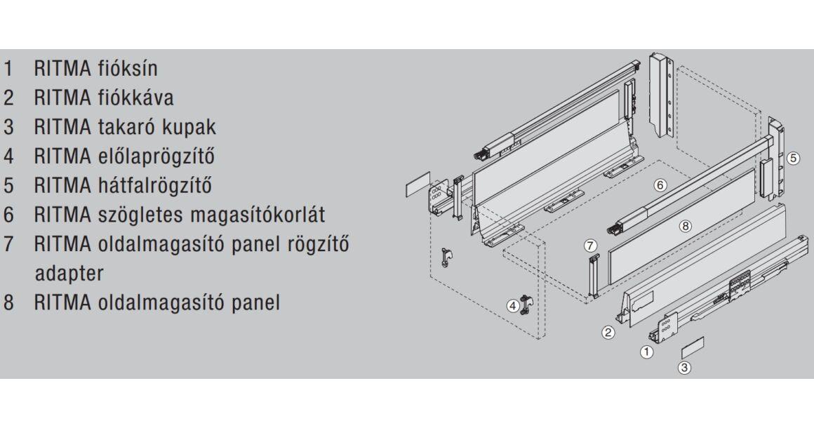 Kép 2/2 - RITMA CUBE oldalmagasított négyszög korlátos 83 mm magas normál fiók, metál szürke