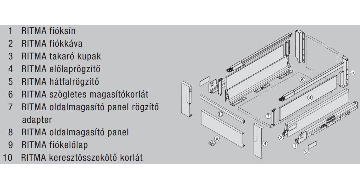 Kép 2/2 - RITMA CUBE oldalmagasított négyszög korlátos 83 mm magas belső fiók, metál szürke