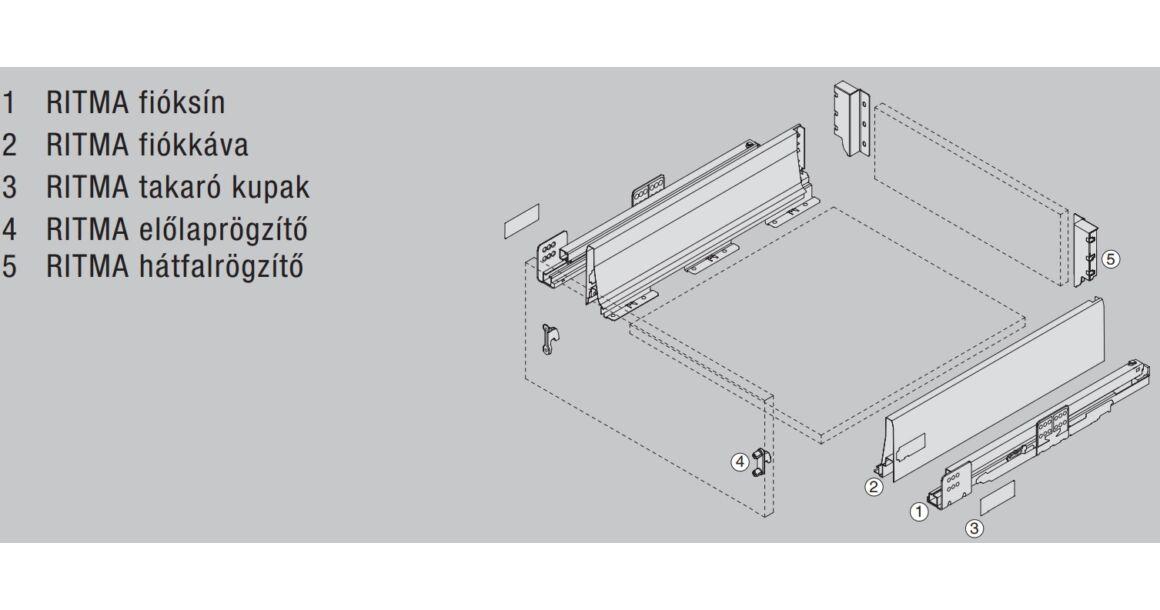 Kép 2/2 - RITMA CUBE korlát nélküli 115 mm magas normál fiók, metál szürke