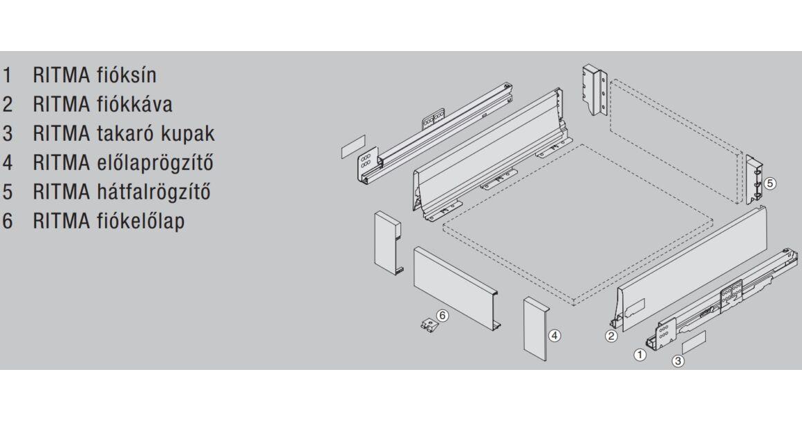 Kép 2/2 - RITMA CUBE korlát nélküli 115 mm magas belső fiók, tiszta fehér