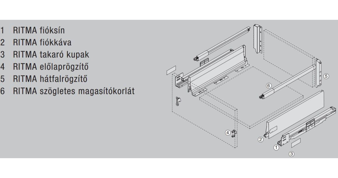 Kép 2/2 - RITMA CUBE felső négyszög korlátos 83 mm magas normál fiók, metál szürke