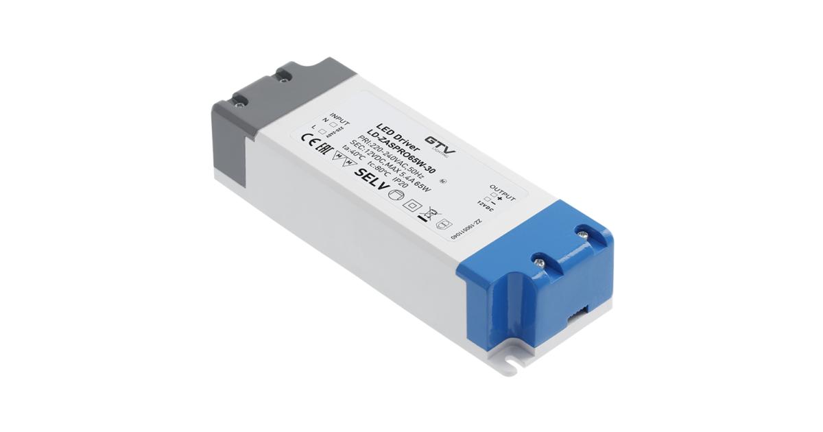 Tápegység LED 12V,  65W, IP20, 181x63x40mm
