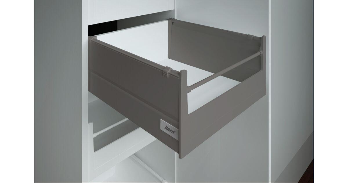 RITMA CUBE oldalmagasított körkorlátos 83 mm magas belső fiók, metál szürke