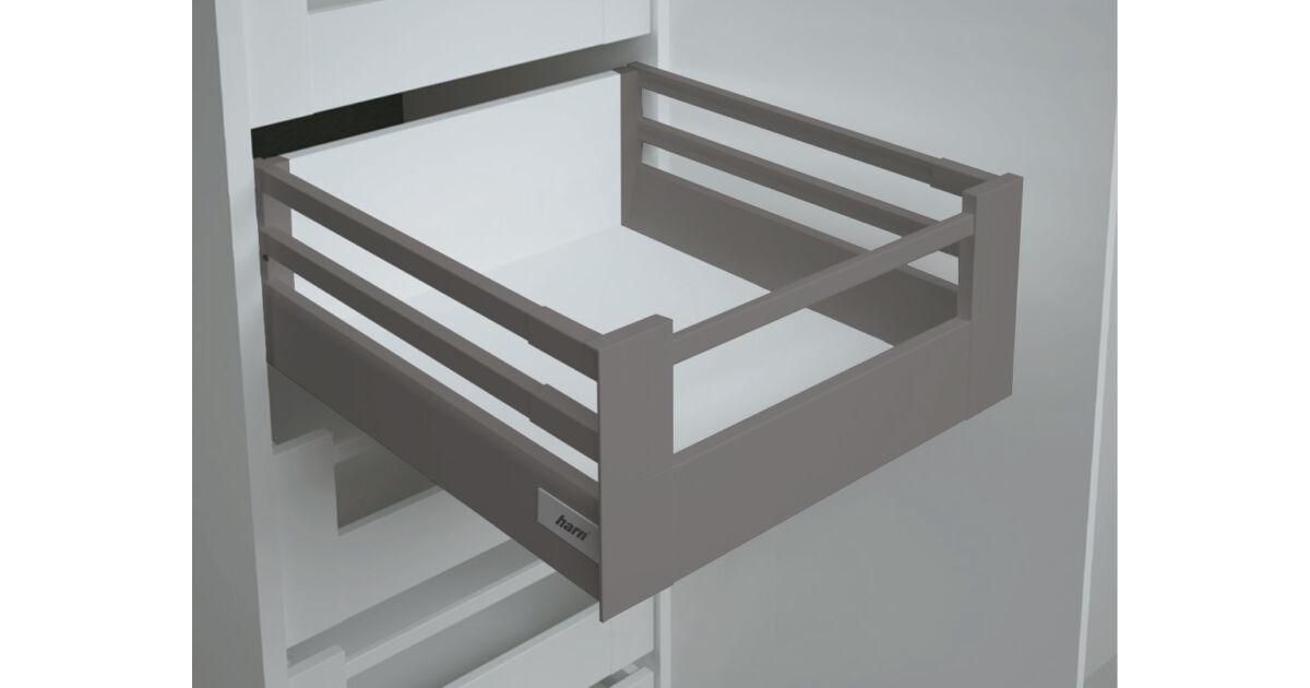 RITMA CUBE dupla négyszög korlátos 83 mm magas belső fiók, metál szürke