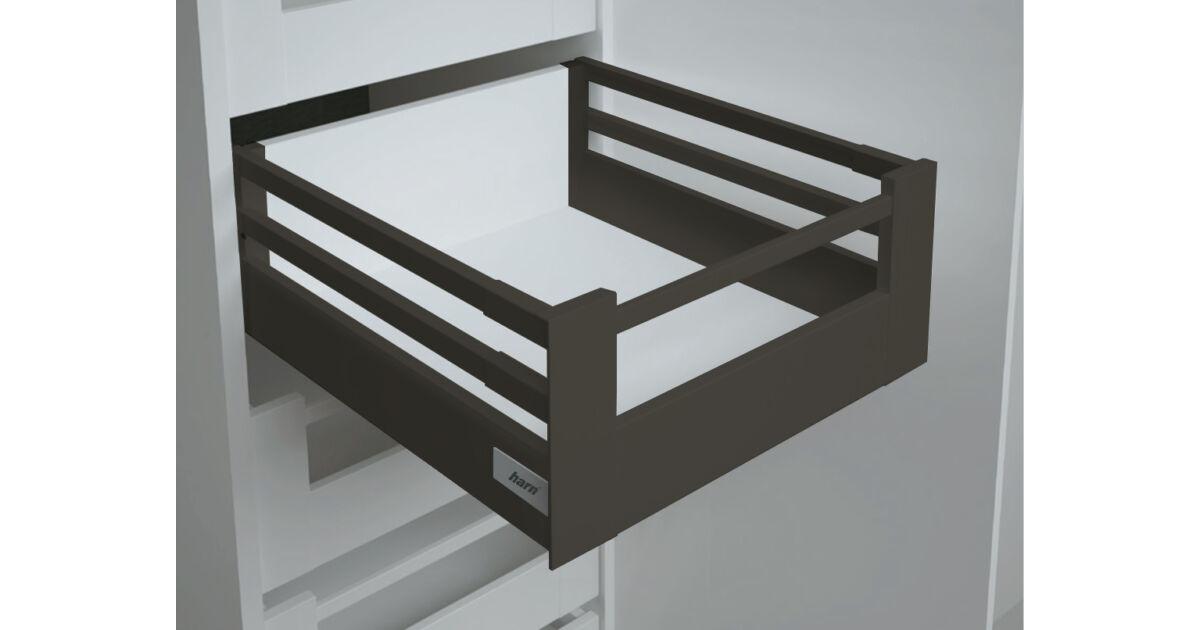 RITMA CUBE dupla négyszög korlátos 83 mm magas belső fiók, ólomszürke