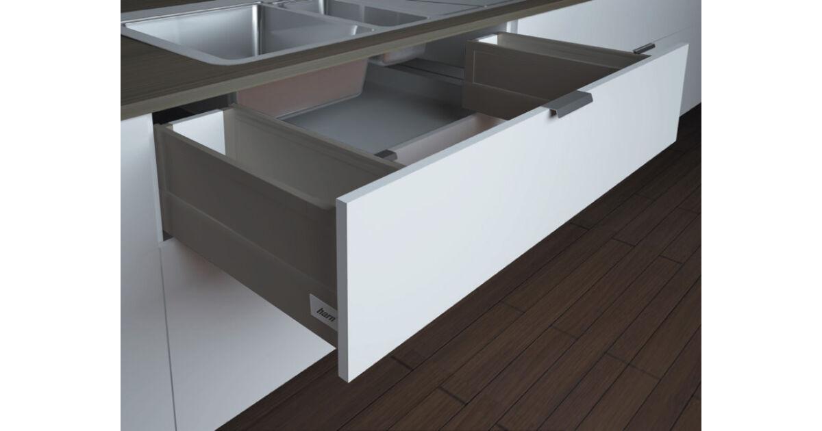 RITMA CUBE oldalmagasított négyszög korlátos 83 mm magas mosogatós normál fiók, metál szürke