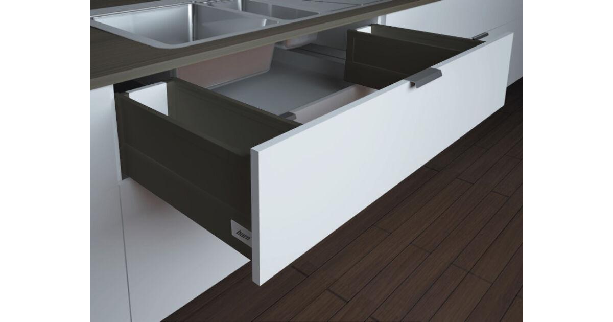 RITMA CUBE oldalmagasított négyszög korlátos 83 mm magas mosogatós normál fiók, ólomszürke