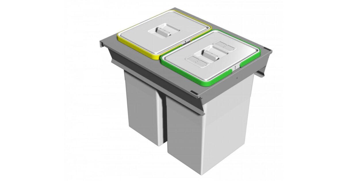 SQUARE 2.0 fiókba építhető szelektív hulladékgyűjtő 48 L