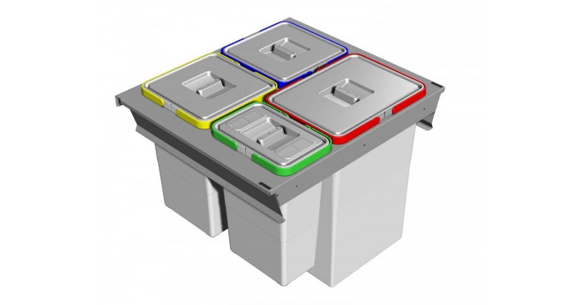SQUARE 2.0 fiókba építhető 4 rekeszes szelektív hulladékgyűjtő 48 L